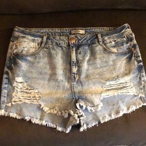 Refuge Light Denim Distressed Ripped Shorts